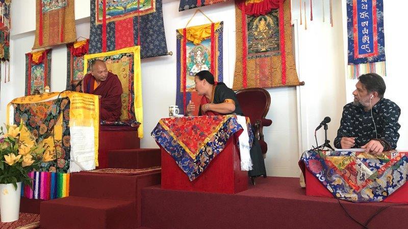 01Sangmo La translating for HH 34 menri Trizin at Chamma Ling Poland